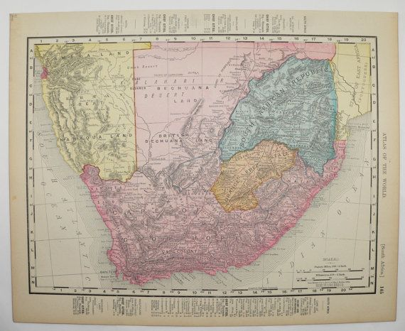 Antique South Africa Map Vintage Old 1900 Cape Colony Cape of Good Hope Orange Free State Unique Gift Under 20 Travel Map Gift for Home by OldMapsandPrints on Etsy
