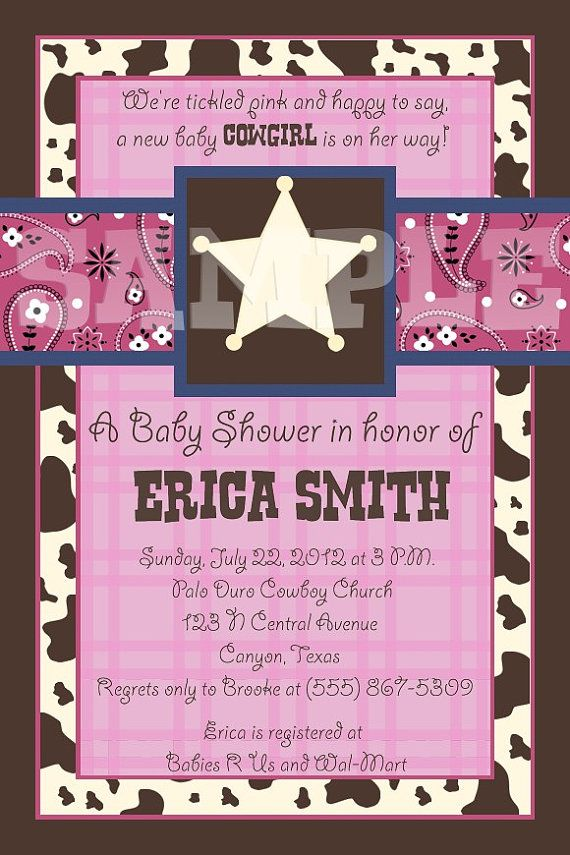 baby shower invitation for twins%0A Custom Lil Cowgirl Baby Shower Invitation