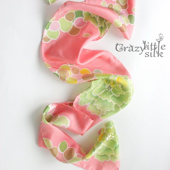 Narrow Silk Scarf Hand Painted Peachy and Apple Green Floral and Circles Ornament Womens Scarves Woman Necktie Batik Silk Hair Scarf Gift