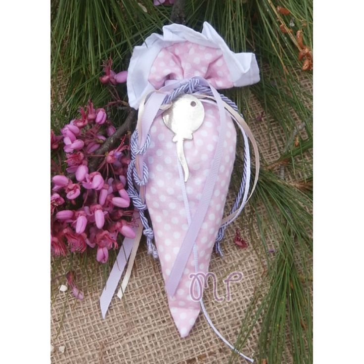 Μπομπονιέρες βάπτισης. Μπομπονιέρες βάπτισης κορίτσι πουγκί πουά ροζ με μεταλλική καρφίτσα μπαλόνι