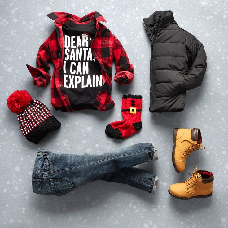 Boys' fashion | Kids' fashion | Christmas outfit | Graphic tee | Plaid button-down shirt | Puffer jacket | Pom pom beanie | Cozy socks | Boots | Jeans | The Children's Place