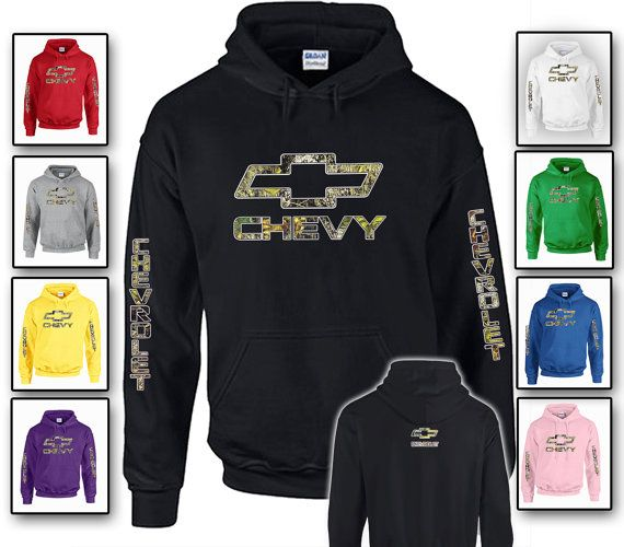 Hoodie - Chevy Camo available in Black, White, Gray, Red, Yellow, Purple, Green, Pink and Blue on Etsy, $29.99