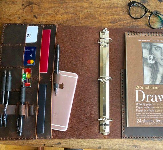 Leather Folder Portfolio, Black Folder Binder, Business