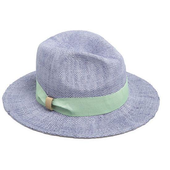 Шляпа-«федора» голубая с бледно-зеленой лентой, Oysho, где купить: Oysho