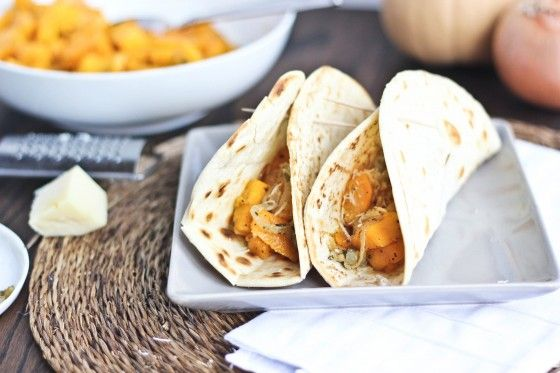 Roasted Butternut Squash Tacos with Caramelized Onions & Parmesan | Bake Your Day