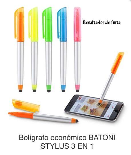 Bolígrafo Plástico con Stylus y Resaltador de Tinta Tipo de Producto: IMPORTADO. Medida de Bolígrafo: 14 cm.  Área de Marca: 2.6 cm ancho  Técnica de Marca: Tampografía.  Colores Disponibles: Amarillo, Azul, Naranja, Rosado y Verde.