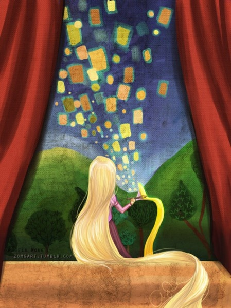 Rapunzel and the lantern painting.