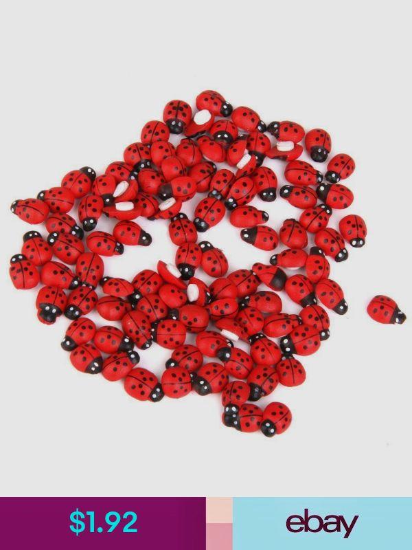 100x Miniature Bonsai Artistic DollHouse Wooden Garden Landscape Ladybird E4O6