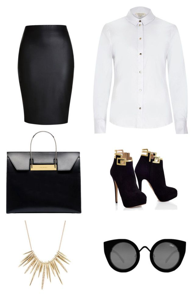 """Black & White Edge"" by britscarike on Polyvore featuring River Island, Alexis Bittar, Balenciaga and Quay"