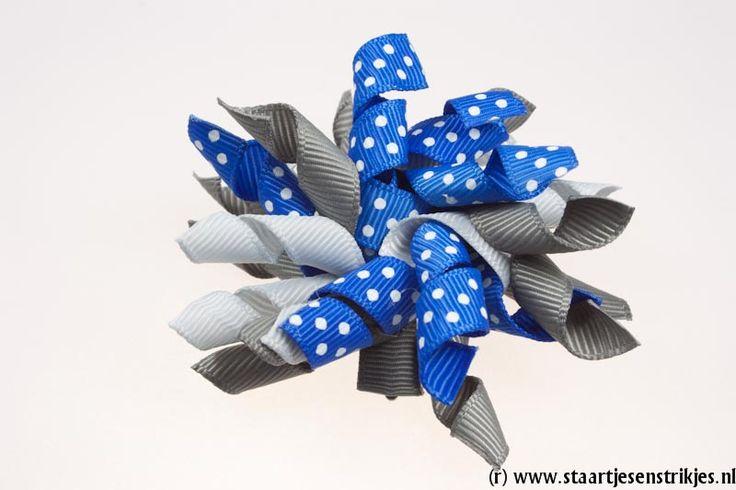 Mini lintjesfeest grijs/lichtgrijs/kobaltblauw polkadot