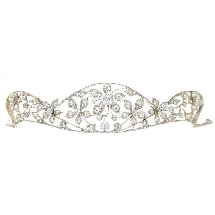 Edwardian Diamond Gold Platinum Tiara | From a unique collection of vintage more jewelry at https://www.1stdibs.com/jewelry/more-jewelry-watches/more-jewelry/