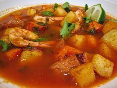 MEXICAN SEAFOOD SOUP RECIPES | Mexican Spicy Roasted Shrimp & Potatoes Stew