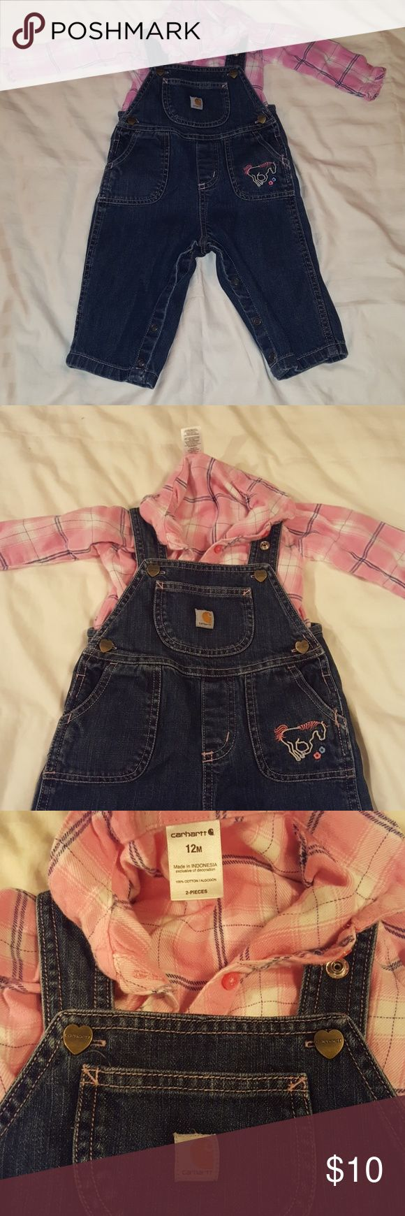 Carhartt overalls and matching plaid onsie Like new, no stains. Comes from clean smoke and pet free home. Carhartt Matching Sets