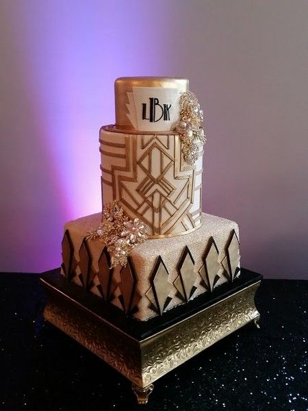 3 tier art deco Gatsby themed wedding cake by Frosted Art Bakery