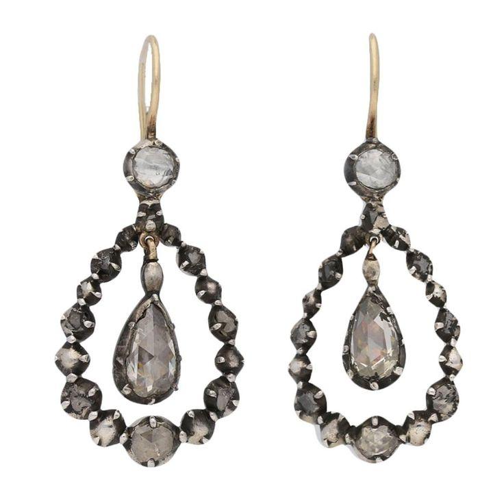Georgian rose cut diamond earrings with removable diamond drop shape, circa 1780.