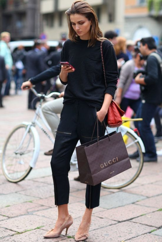 Ciao, Bella! Street Style Straight From Milan Fashion Week: easy black on black. #ciao