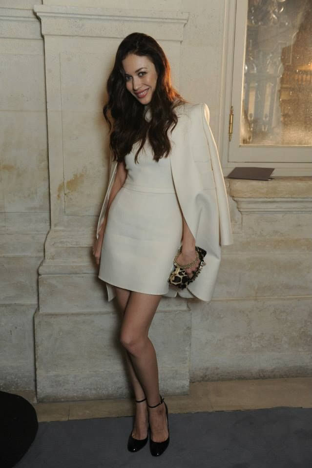 Olga Kurylenko wears a Valentino look from the Spring Summer 2014 collection to the Valentino Spring Summer 2014 Haute Couture Show
