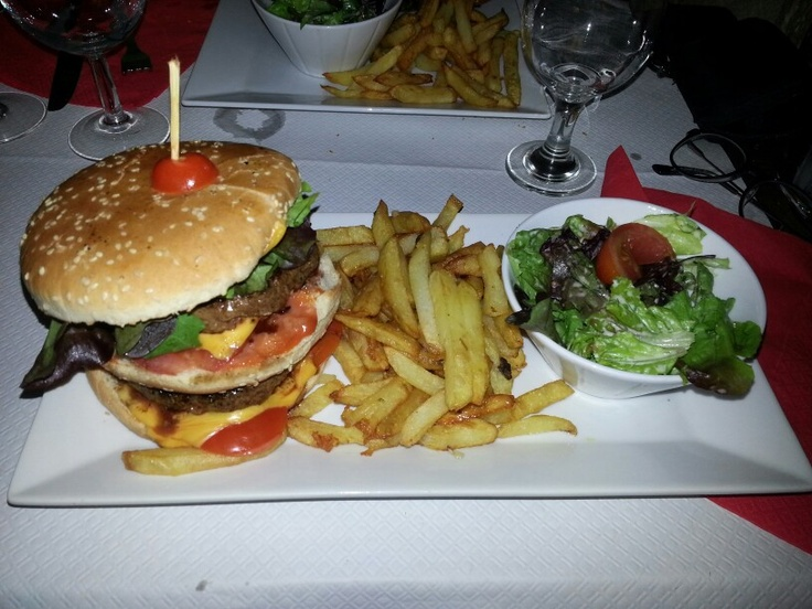 Double hamburger with French fries