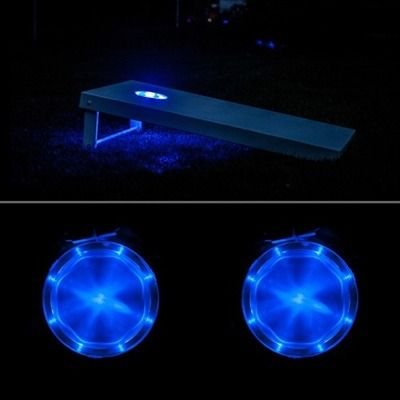 Play cornhole at night. These cornhole lights provide extended fun into the dark hours.