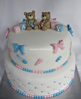 Alexandra's droomtaartjes: Gender reveal cake / Gender reveal taart