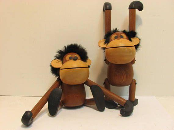 2 Vintage Sveistrup Denmark Wood Monkeys Danish Modern Mid