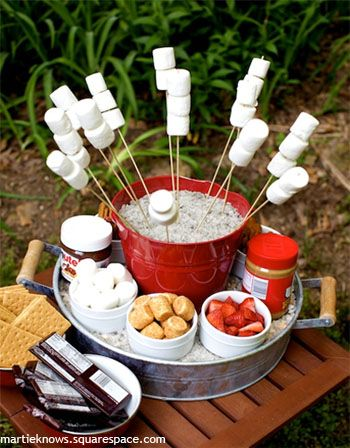 16 Menu Ideas for Your House Party this Summer. Cool S'mores bar!