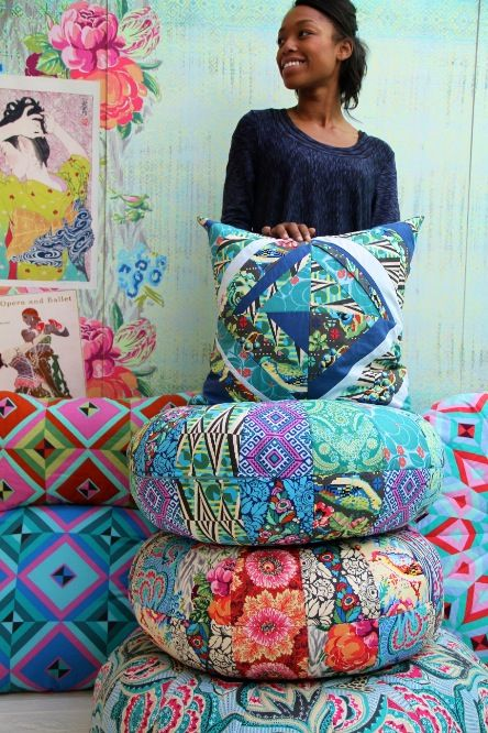 Amy Butler's Hapi fabrics, pattern from Amy Butler's Honey Bun Poufs and An Artful Piece Totes & Pillows