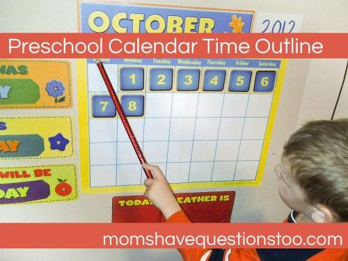 Preschool Calendar Time Outline -- minus the alphabet chart in the journal