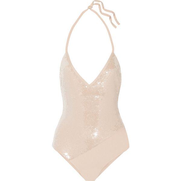 La Perla Radiance sequin-embellished swimsuit (£525) ❤ liked on Polyvore featuring swimwear, neutral, la perla, la perla bathing suit, swimsuit swimwear, la perla swimsuit and swim costume