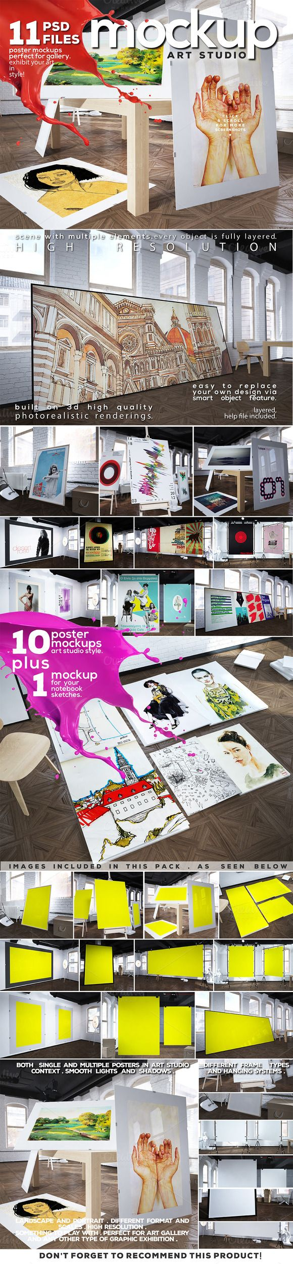 Art Studio-Poster Mock-up vol.8 by DESIGNbook on Creative Market