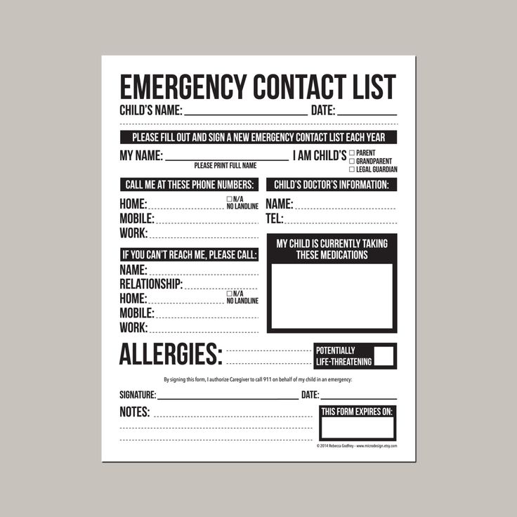 Emergency Contact Form for Nanny, Babysitter or Daycare ...