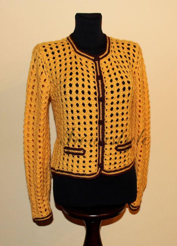 Crochet de Cardigan.Haut dentelle blouse, veste au crochet fait main, fait sur commande. Haussement d'épaules Bolero.