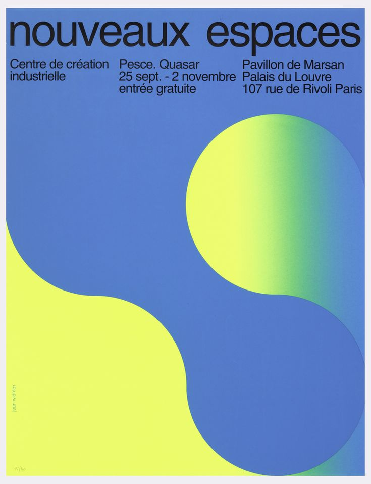 """Text across top in black: """"noveaux espaces."""" Underneath and below text, abstract biomorphic forms in grey and yellow"""