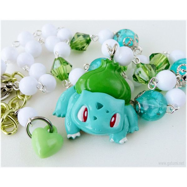 Pokemon Necklace, Bulbasaur Pendant, Beaded Rosary Chain - Gamer,... ($29) ❤ liked on Polyvore featuring jewelry, necklaces, accessories, chain pendant necklace, mint necklaces, heart pendant necklace, chain pendants and heart shaped pendant necklace