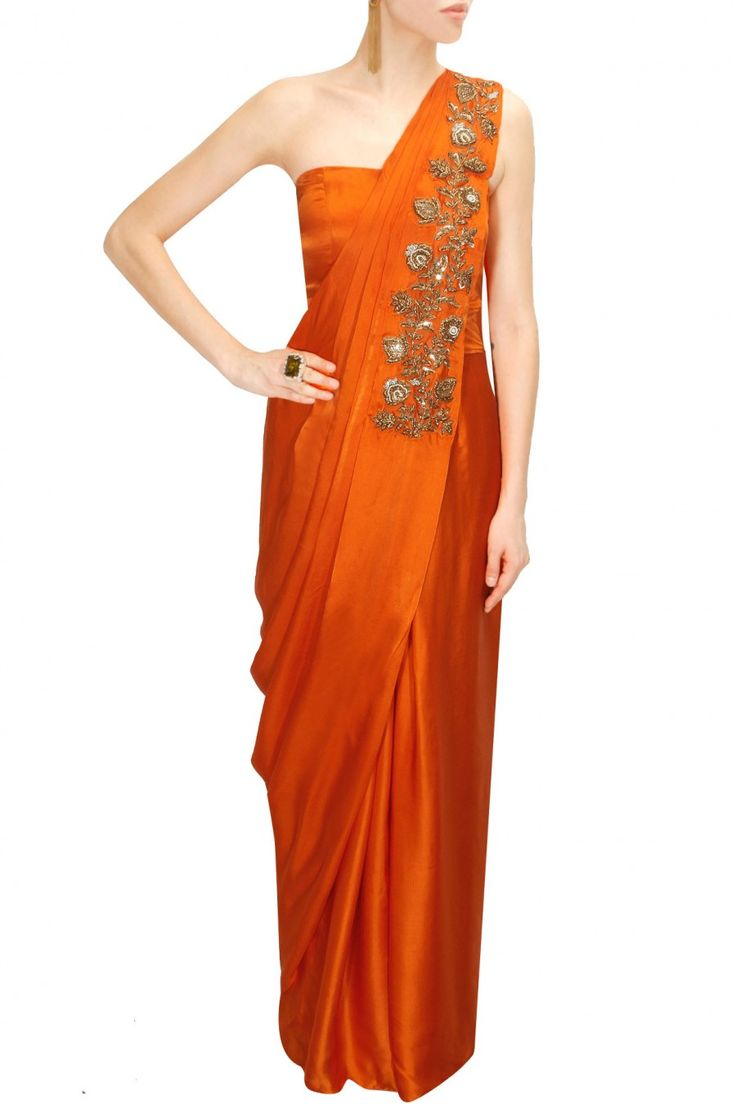 Tangerine embroidered draped sari gown available only at Pernia's Pop-Up Shop.