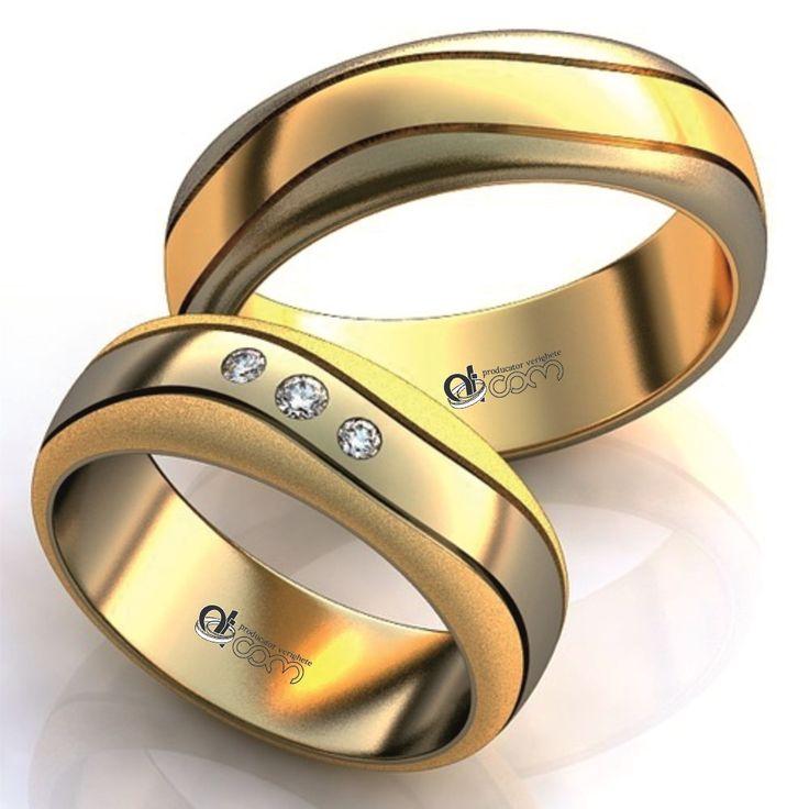 Verighete ATCOM Lux 3D 327 aur galben cu alb