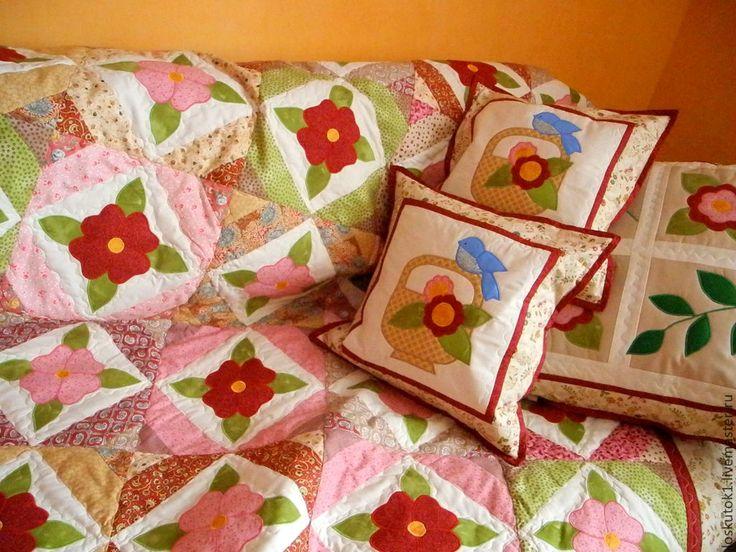 Купить пэчворк подушки с аппликациями НЕЖНОСТЬ подушка декоративная - пэчворк подушка, пэчворк подушки