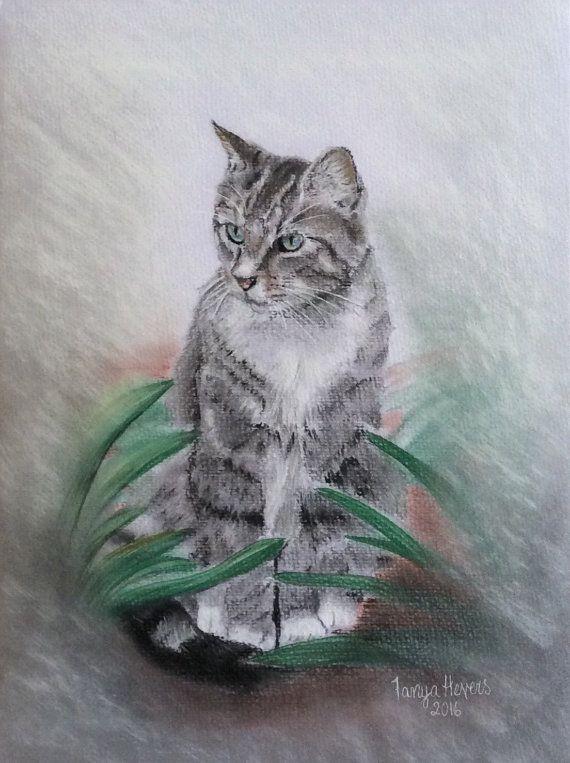 Custom pet portrait. Pastel drawing/painting. Cat or dog memorial drawing - sample