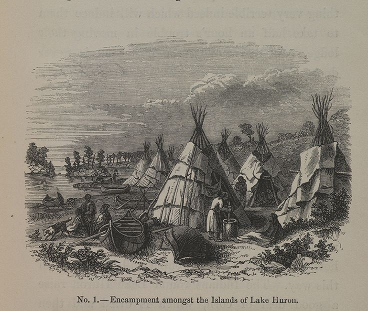"""The eight chromolithographs and thirteen woodcut engravings that illustrate Paul Kane's """"Wanderings of an Artist among the Indians of North America"""" are based on Kane's paintings, sketches, or combinations of these. Paul Kane, """"Encampment amongst the Islands of Lake Huron,"""" 1859, woodcut engraving."""