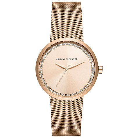 Buy Armani Exchange Women's Crystal Mesh Bracelet Strap Watch Online at johnlewis.com
