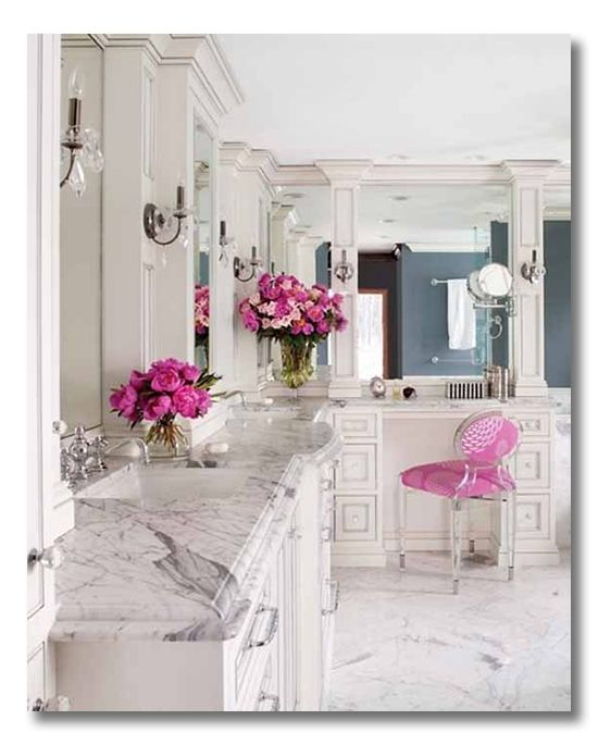 Simply beautiful bathroom - gray & white echoing the marble countertops