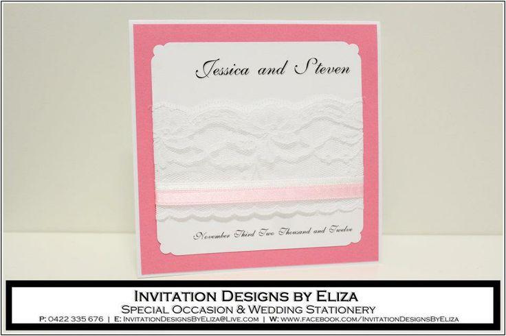 Invitation Designs  {Wedding} Pink, White & Silver Theme www.facebook.com/InvitationDesignsByEliza