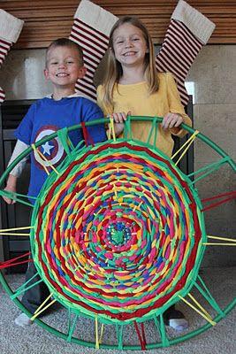 Hula-Hoop loom for weaving rug made of kids' old T-shirts: Kara's Creative Place