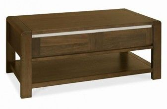 Casa Walnut Coffee table with two drawers and open shelf. Soft edge and contrast trim detail.