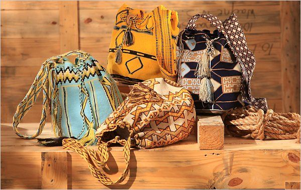 Mochilas wayuu........It takes the women of the Wayuu tribe of Colombia up to a month to weave a mochila bag, working eight hours a day, every day.