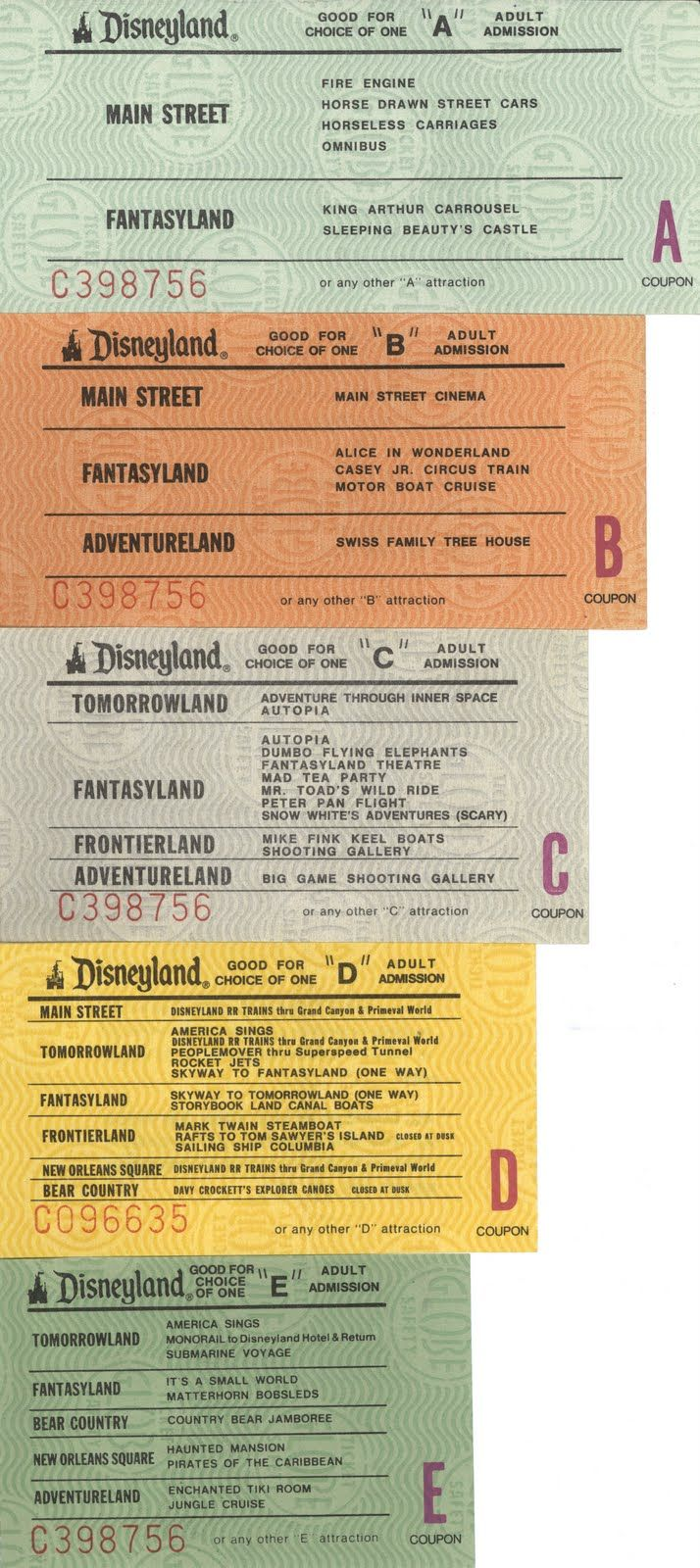 "Old Disneyland attraction tickets. I'm sorry but I would've never used an ""E"" ticket on Tiki Room, Matterhorn all the way!"