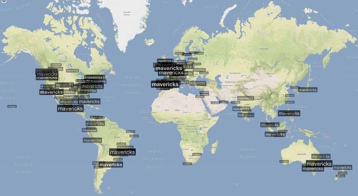 Worldwide TrendMap for @Apple Ratana's new OS, #Mavericks - Oct 23, 4:05 GMT