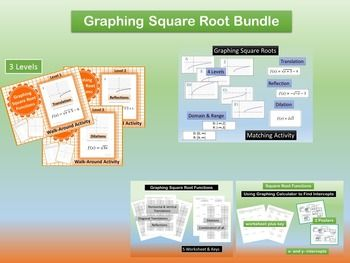 Graphing Square Root Functions BundleThis bundle helps students with graphing square root functions by using translations, reflections and dilations.  Included several version of each. Activities and homework assignments. Great for Differentiation. Can be used for advanced learners or remediation.This bundle includes the following products3 Walk Around Activities - 2 Versions of eachGraphing Square Root Function Walk-around Activity-Level 1~TranslationsGraphing Square Root Function…