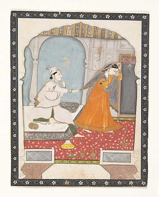 The Timid Bride Date: ca. 1800 Culture: India (Punjab Hills, Kangra) Medium: Ink, opaque watercolor, and gilt on paper Dimensions: 7 1/4 x 5 13/16 in. (18.4 x 14.8 cm) Classification: Paintings Credit Line: Rogers Fund, 1958 Accession Number: 58.1.2