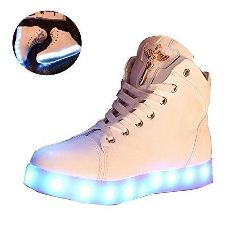 Gaorui Zapatillas Altas Chicas Luminous Luz LED Flash Hip Hop Zapatos Blancos con Cordones de Deporte
